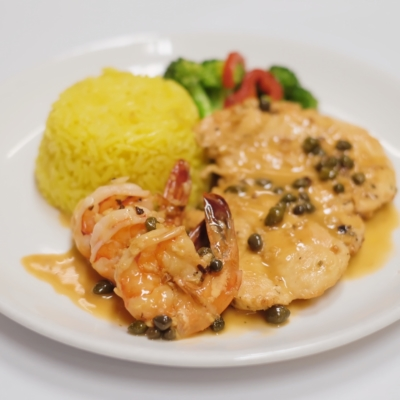 Chicken and Prawn Picatta